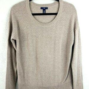 LS Crew Neck Chevron Sweater cappuccino Tan Size M